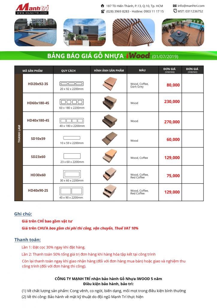 bảng báo giá gỗ nhựa iWood 2
