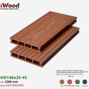 sàn gỗ nhựa iWood HD140x25-4s red brown 1