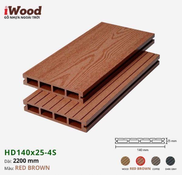 sàn gỗ nhựa iWood HD140x25-4s red brown 1