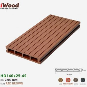 sàn gỗ nhựa iWood Hd140x25-4s red brown