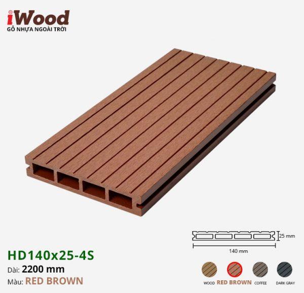 sàn gỗ nhựa iWood Hd140x25-4s red brown