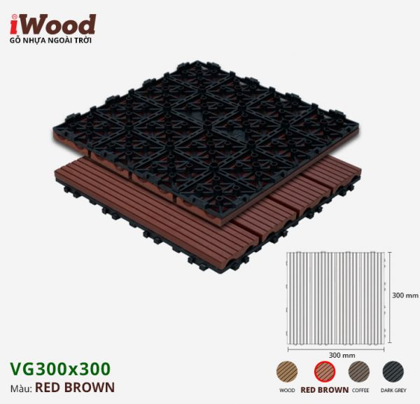 vỉ gỗ nhựa iWood Vg300x300 Red brown 1
