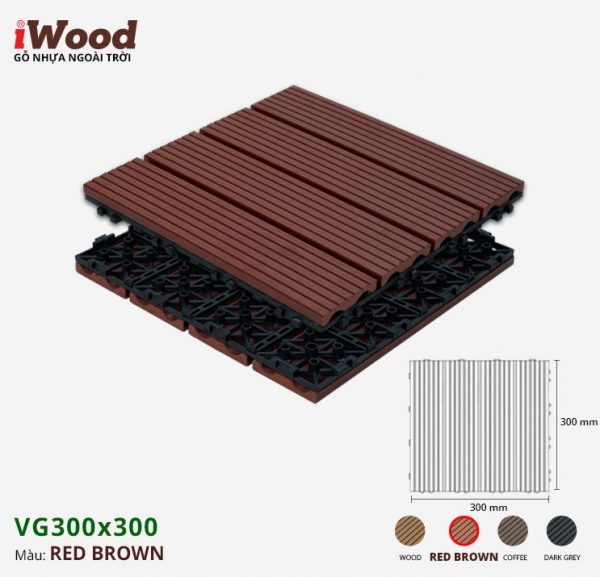 Vỉ gỗ nhựa iWood VG300x300 Red Brown 2