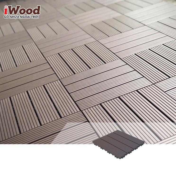thi công vỉ gỗ nhựa iWood VG300x300 Coffee 1