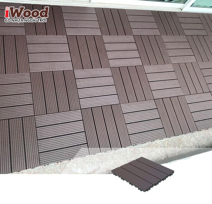 thi công vỉ gỗ nhựa iWood VG300x300 Coffee 3