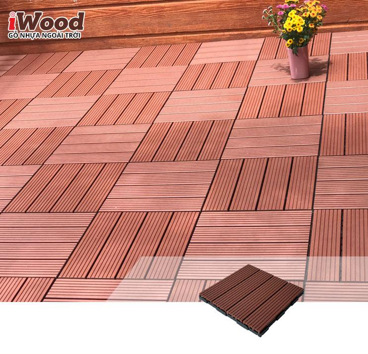 thi công vỉ gỗ nhựa iWood Vn300 Red brown 4