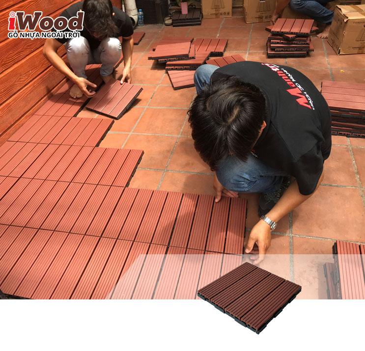 thi công vỉ gỗ nhựa iWood VN300 red brown 2