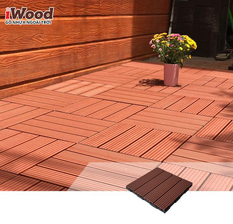 thi công vỉ gỗ nhựa iWood VN300 red brown 5