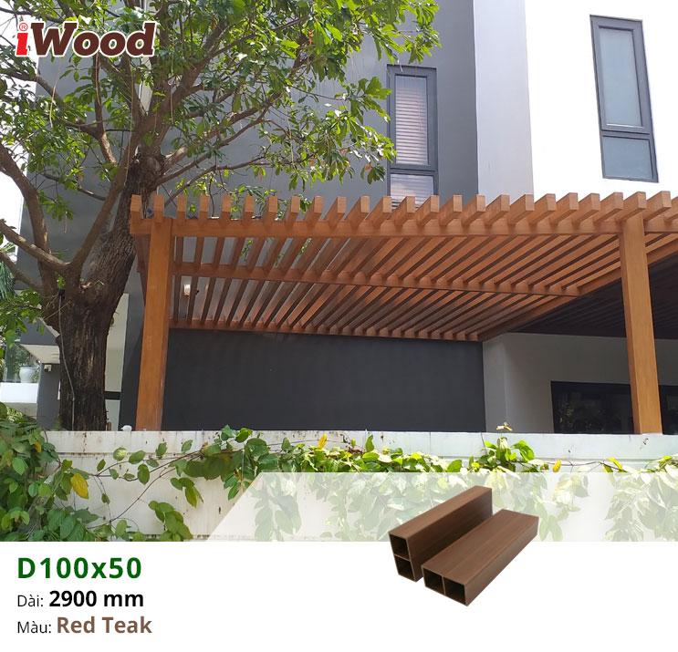 thi công hệ lam iwood D100x50-red-teak
