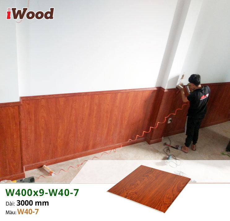 Thi công ốp tường trang trí gỗ nhựa iWood W400x9-W40-7 tại quận 12