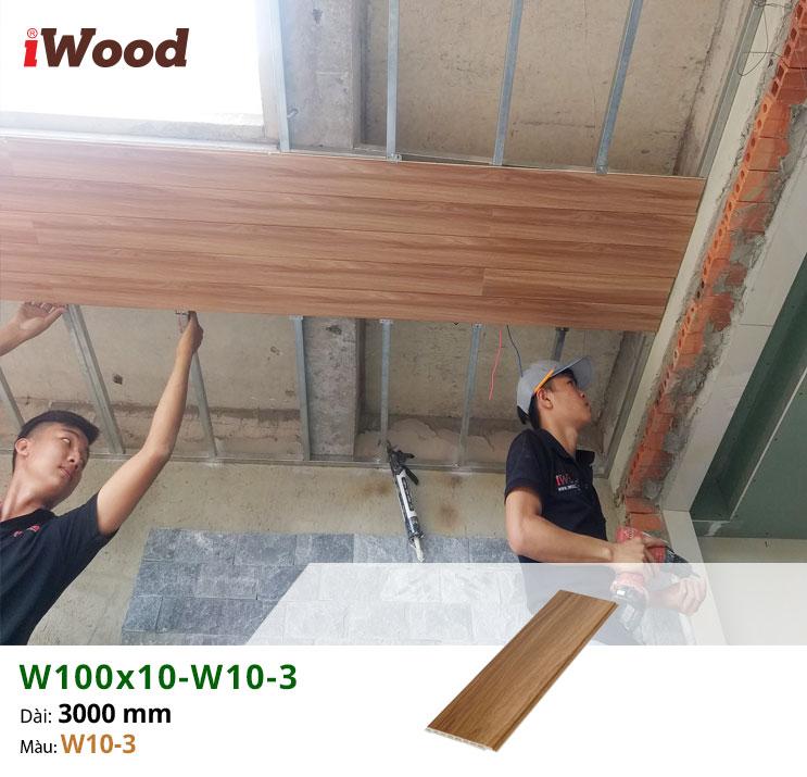Thi công ốp trần tấm ốp vân gỗ W100x10-W10-3 tại Tây Ninh